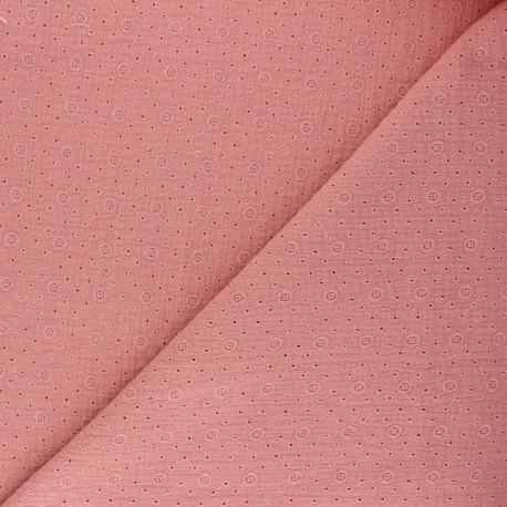 Embroidered Double gauze Cotton fabric - soft pink Agnès x 10cm