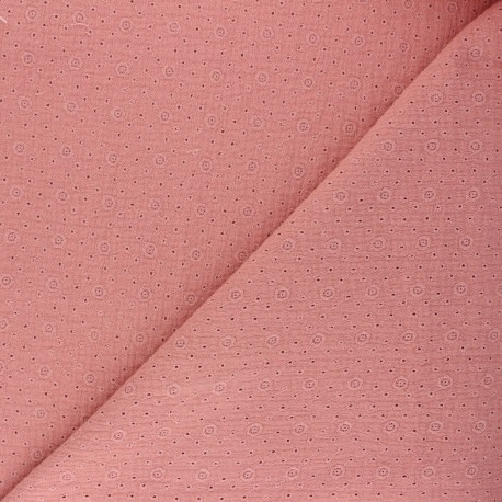 Tissu double gaze de coton brodé Agnès - rose thé x 10cm