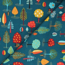 Tissu coton Makower UK Folk Friends Trees - vert paon x 10cm