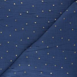 Tissu double gaze de coton Declan - bleu indigo x 10cm