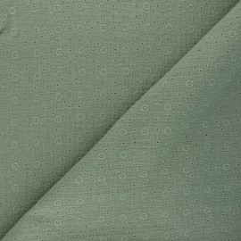 Embroidered Double gauze Cotton fabric - khaki green Agnès x 10cm