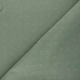 Tissu double gaze de coton brodé Agnès - kaki x 10cm
