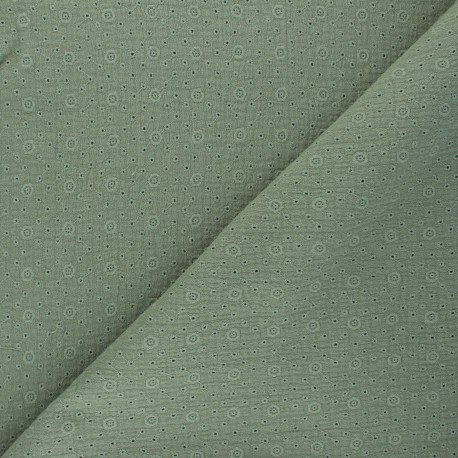 Embroidered Double gauze Cotton fabric - khaki green Agnès x 10cm