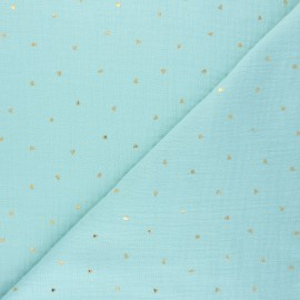 Double cotton gauze fabric - mint Declan x 10cm