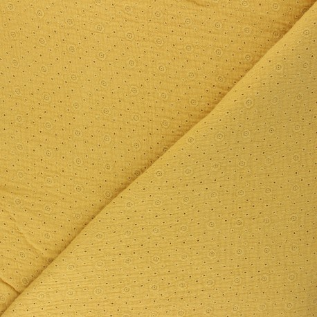 Embroidered Double gauze Cotton fabric - mustard yellow Agnès x 10cm