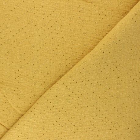 Tissu double gaze de coton brodé Agnès - jaune moutarde x 10cm