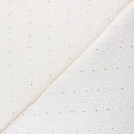 Tissu double gaze de coton brodé Suzy - écru x 10cm
