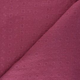 Tissu double gaze de coton brodé Suzy - figue x 10cm