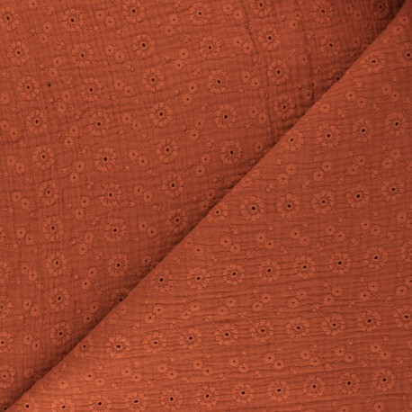 Embroidered Double gauze Cotton fabric - rust red Suzy x 10cm