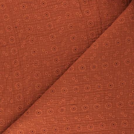 Tissu double gaze de coton brodé Suzy - rouille x 10cm