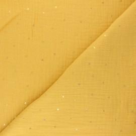 Tissu double gaze de coton Declan - jaune moutarde x 10cm
