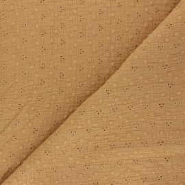Embroidered Double gauze Cotton fabric - camel Adèle x 10cm