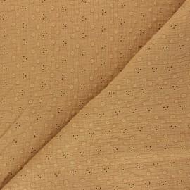 Embroidered Double gauze Cotton fabric - camel Adèle x 10cm