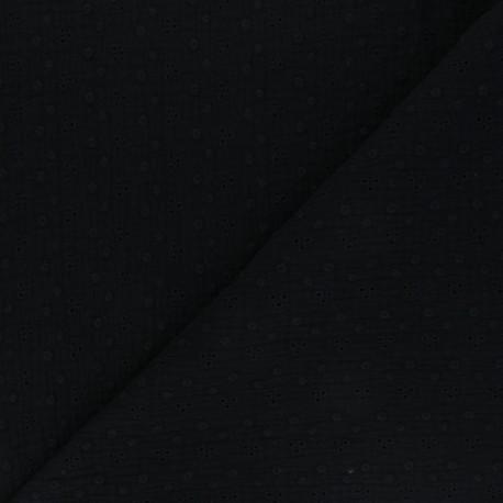 Embroidered Double gauze Cotton fabric - black Adèle x 10cm