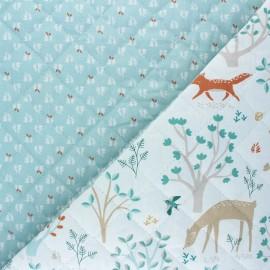 Quilted cotton fabric - celadon blue Jolibois/Lorio x 10cm