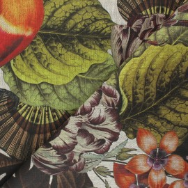 Tissu toile de lin Histoires naturelles - multicolore x 63 cm