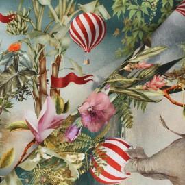 Tissu toile de coton Dumbo World - multicolore x 55cm
