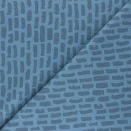 Tissu coton sweat léger Stenzo Phill - bleu x 10cm
