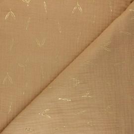 Tissu double gaze de coton Stolpa - camel x 10cm