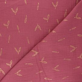 Double cotton gauze fabric - fig pink Stolpa x 10cm