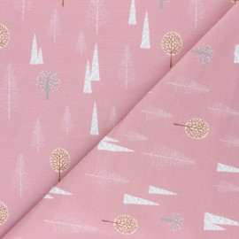 Stenzo French terry cotton fabric - pink Arbres d'hiver x 10cm