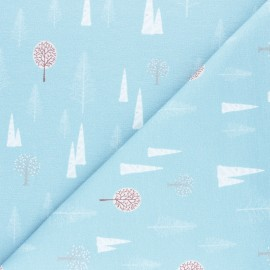 Stenzo French terry cotton fabric - blue Arbres d'hiver x 10cm