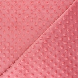 Dotted minkee velvet fabric - guava pink Bubble x 10cm