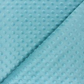 Dotted minkee velvet fabric - celadon blue Bubble x 10cm