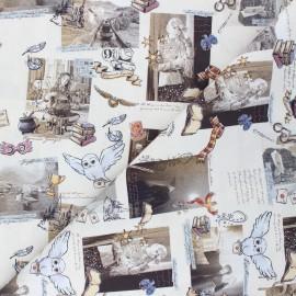Tissu coton cretonne Harry's stories - grège x 10cm