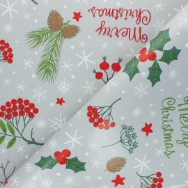 Tissu toile cirée Le houx de Noël - gris x 10cm
