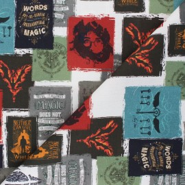 Cretonne cotton fabric - white Harry Potter posters x 10 cm