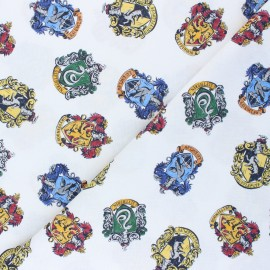 Tissu coton cretonne Blasons Poudlard - blanc x 10cm