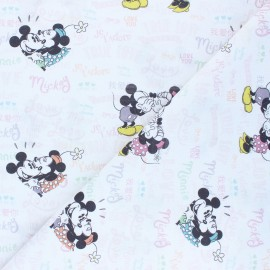 Cretonne cotton fabric - white Mickey et Minnie x 10 cm