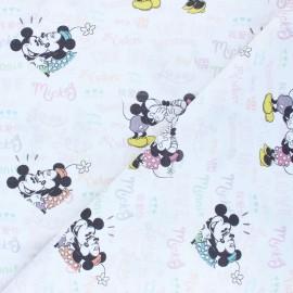 Tissu coton cretonne Mickey et Minnie - blanc x 10cm