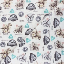 Cretonne cotton fabric - greige Jurassic Dinosaurs x 10 cm