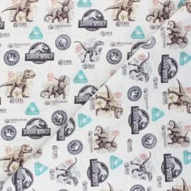 Tissu coton cretonne Jurassic Dinosaurs - grège x 10cm