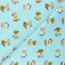 Cretonne cotton fabric - aqua green Minions' summer x 10 cm