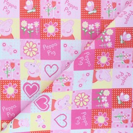 Cretonne cotton fabric - pink Summer Peppa x 10 cm