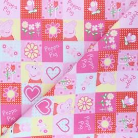 Tissu coton cretonne Summer Peppa - rose x 10cm