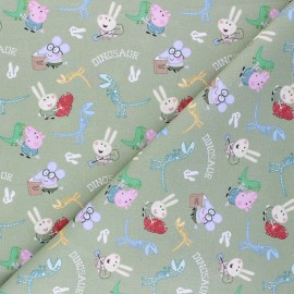Cretonne cotton fabric - green George Pig et les dinosaures x 10 cm