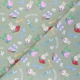Tissu coton cretonne George Pig et les dinosaures - vert x 10cm