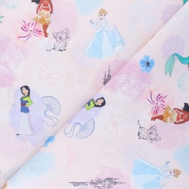 Cretonne cotton fabric - pink Héroïnes Disney x 10 cm