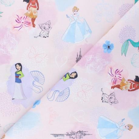 Cretonne cotton fabric - pink Héroïnes Disney x 10 cm