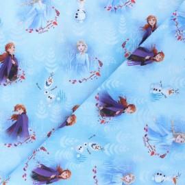 Tissu coton cretonne Anna & Elsa - bleu x 10cm