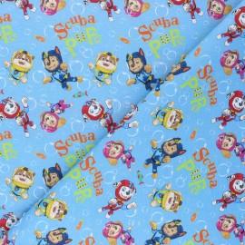 Tissu coton cretonne Pat' Plongée - bleu x 10cm