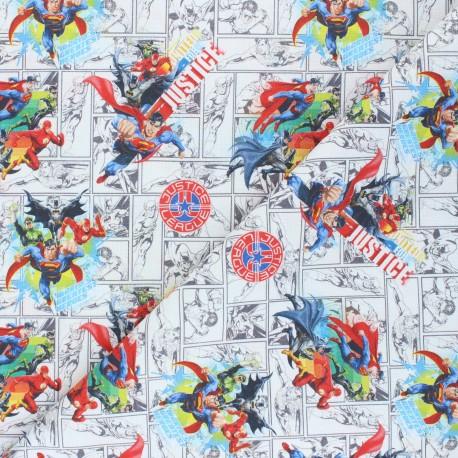 Cretonne cotton fabric - white Justice League x 10 cm