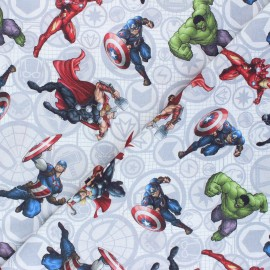 Cretonne cotton fabric - white Marvel heroes x 10 cm