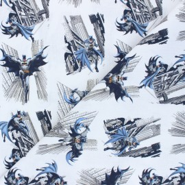 Cretonne cotton fabric - white Gotham city x 10 cm