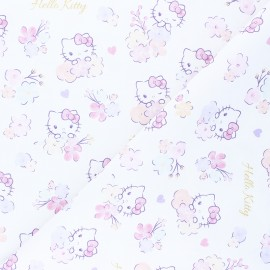 Cretonne cotton fabric - white Flowery Kitty x 10 cm