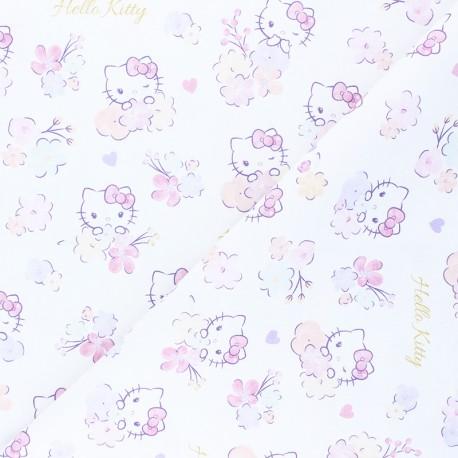 Cretonne cotton fabric - white Flowery Kitty x 10 cm